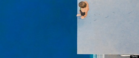 Barcelona, Spain. kid on a diving board